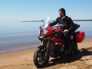 2017 BMW S 1000 XR Review on Algoma Loop beach shore of lake superior