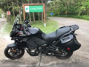 Kawasaki Versys 1000 review at Long Point Provincial Park Ontario