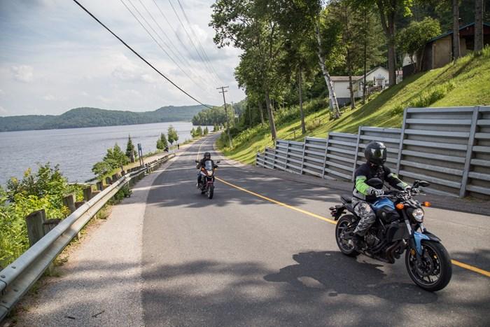 2017 Yamaha FZ-07 motorcycle Review Elephant Lake road ontarios highlands ontario