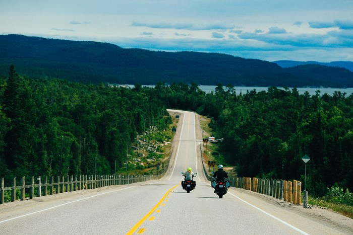Couples Ride Lake Superior Circle Tour Epic Touring Virgil Knapp 6219