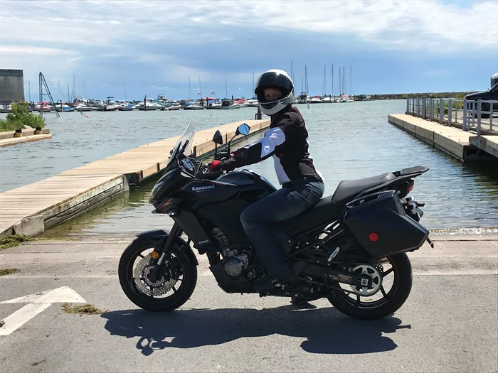 Kawasaki Versys 1000 review on Lake Erie shoreline