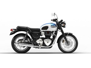 Triumph Bonneville T100 Fusion White and Aegean Blue 2018